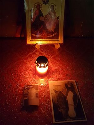 April 2017: Candles lit for the animals in the chapel of Bucarest airport, Romania, after a troubling investigation