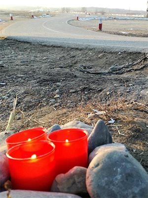 December 2016: Candles lit in the dirt of South-East-Romania for Alin and Cara, Natalia, Marcel, Daniel, Andrej and Violeta.